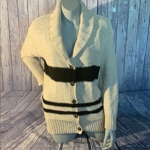 NWOT James Perse Cream/Black Waffle Knit Sweater